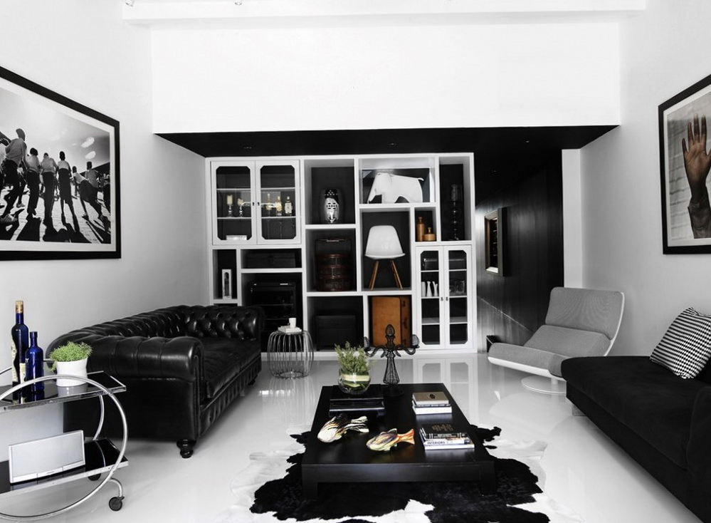 Black and white interior ideas for shophouse ideas for for Interior house designs black and white