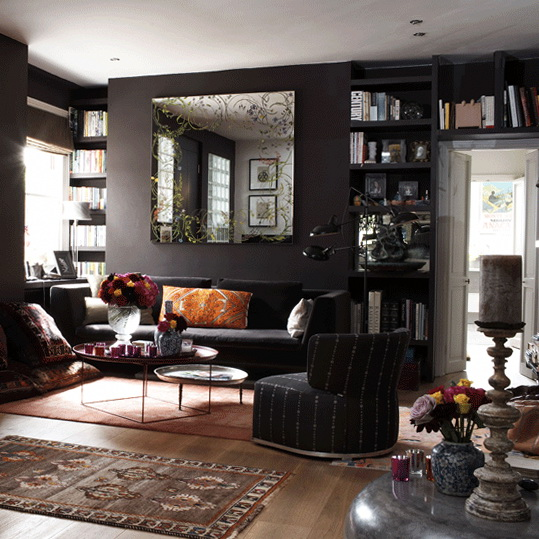 Modern ideas for decorating your living room ideas for for Dark wall decor ideas