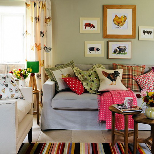 10 Country Living Rooms Decorating Ideas Choose Animal Motif Fabrics
