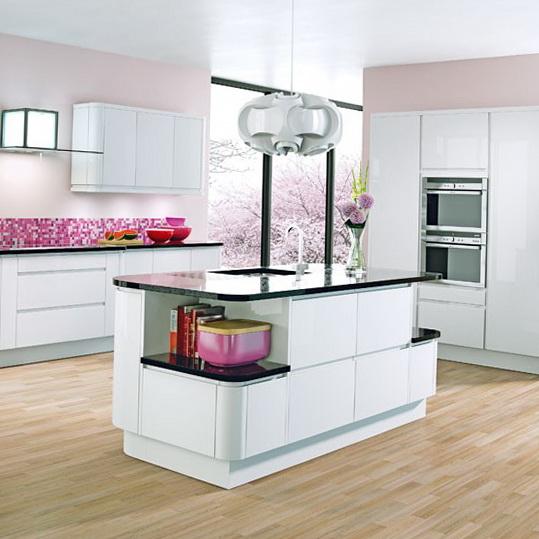 White Gloss Kitchen Wood Worktop: Ideas For Home Garden Bedroom Kitchen - HomeIdeasMag.com