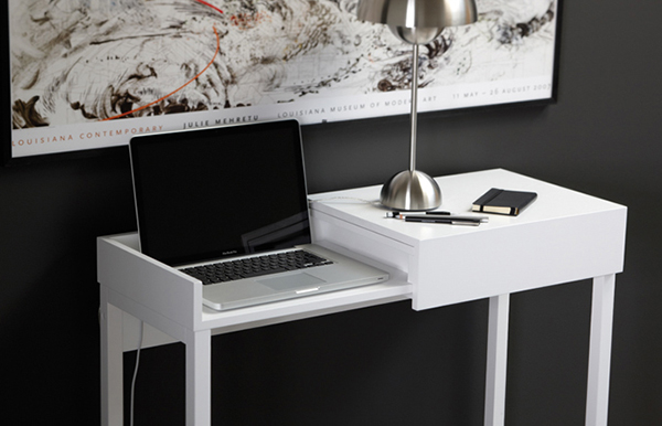 Sensational White Compact Desk Displaying Its Hocus Pocus Ideas For Home Largest Home Design Picture Inspirations Pitcheantrous