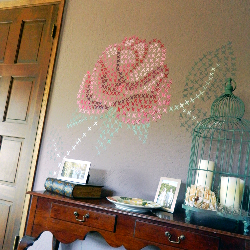 Cross stitch on the wall ideas for home garden bedroom for Diy wall mural ideas