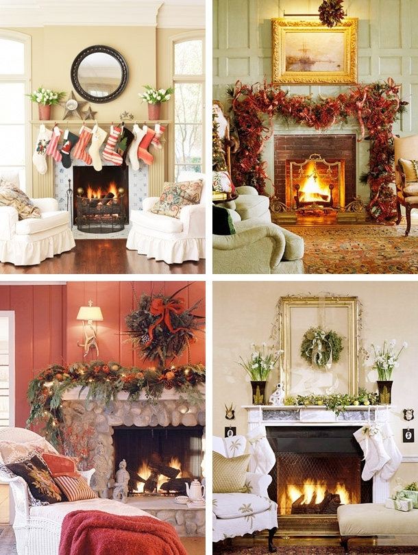 Decorating the fireplace for christmas ideas for home for How to decorate a fireplace for christmas