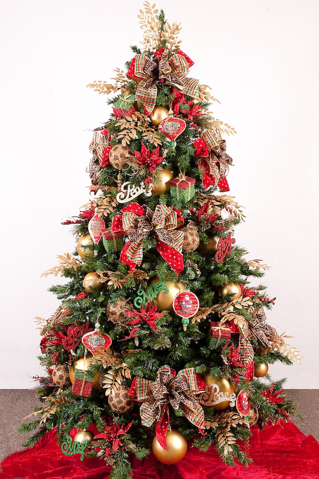 Unique christmas tree ideas for home garden bedroom for Red gold christmas tree decorating ideas