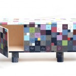 Storage Credenza Covered in Eclectic Corian Samples