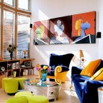 The combination of bright colors in the interior