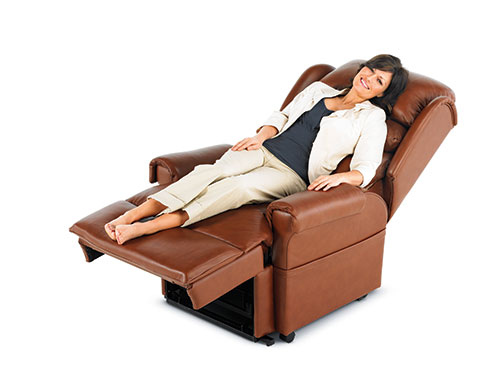 Stylish leather riser recliner chair