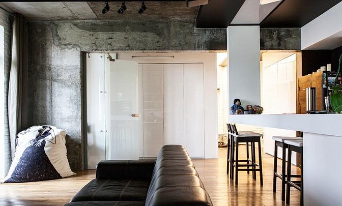 Loft Apartment Concrete Industrial Loft Conversion Hong Kong Simple Minimalist Warehouse Loft