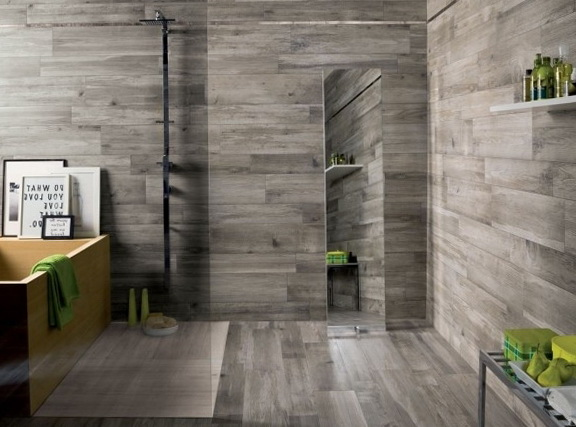 To Real Wood Wood And Tile Bathroom Wood Look Tile In Shower Wood Tile