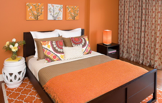 peach color works well for sleeping this bedroom has a lot of peach