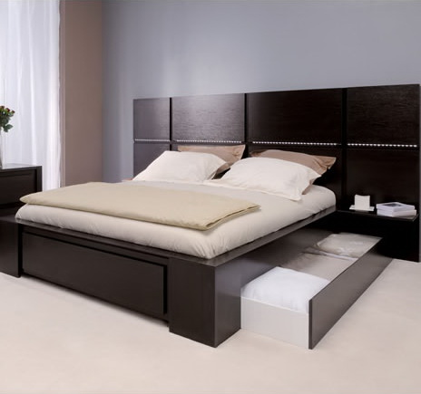 Plaza Hotel Bed Frame with Headboard - wood