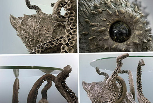 1-Mysterious Octopus table in the style of steampunk
