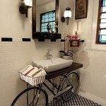 A bathroom with a bicycle