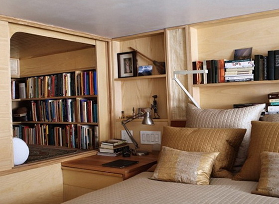 The tiny new york apartment with an unusual library for Mini library at home
