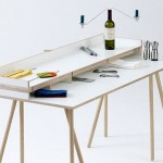 Doppeldecker Table hides your workspace to double as a dining table