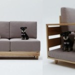 A sofa with integrated doghouse