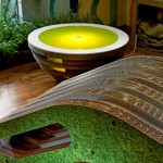 Tappo: a table, a lamp made of cardboard. Eco-design of Giorgio Caporaso