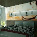 A bedroom with a beautiful headboard