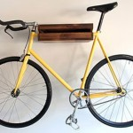 Wooden shelf for a bicycle