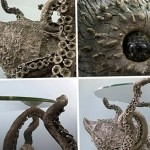 Mysterious Octopus table in the style of steampunk