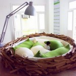 Funny bed in the shape of the nest