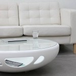 White coffee table with glass top